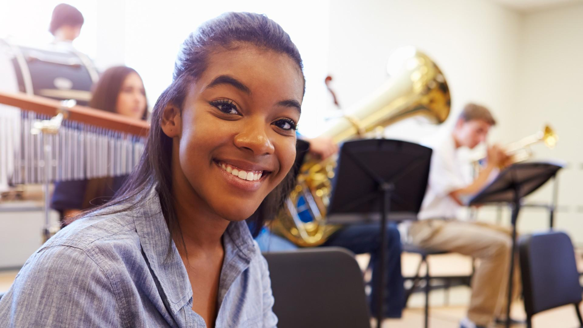 Music Student smiling