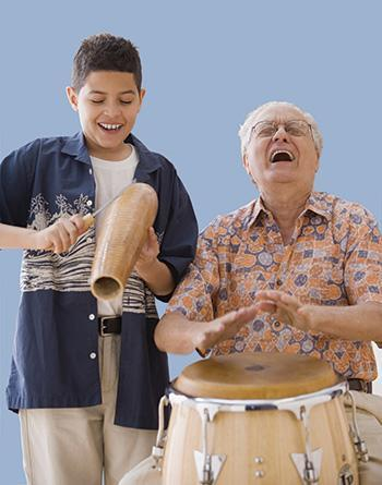 Two people playing percussion